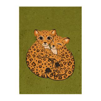 Amur Leopard Cubs Cuddling Art Cork Paper Print