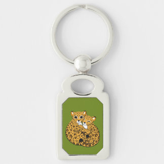 Amur Leopard Cubs Cuddling Art Keychains