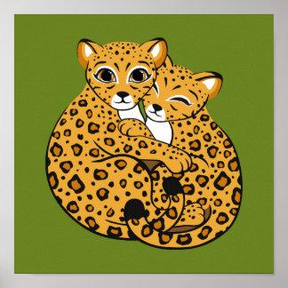 Amur Leopard Cubs Cuddling Art Posters