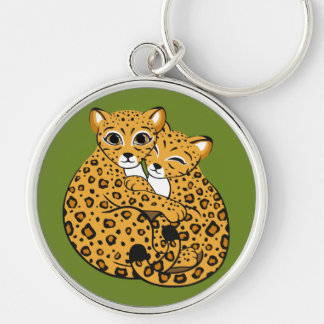 Amur Leopard Cubs Cuddling Art Silver-Colored Round Key Ring