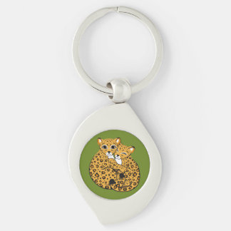 Amur Leopard Cubs Cuddling Art Silver-Colored Swirl Key Ring