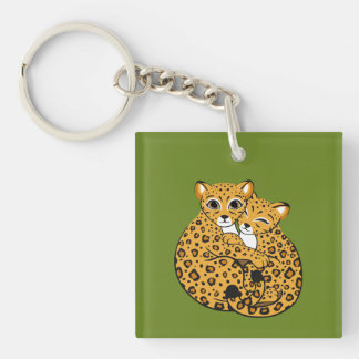 Amur Leopard Cubs Cuddling Art Single-Sided Square Acrylic Key Ring