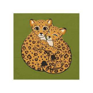 Amur Leopard Cubs Cuddling Art Wood Print