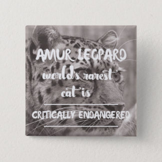 Amur leopard Protect the wildlife Quote 15 Cm Square Badge