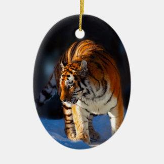 Amur Tiger on white snow Christmas Ornament