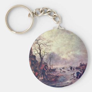 Amusement On The Ice By Ostade Isaac Van (Best Qua Basic Round Button Key Ring