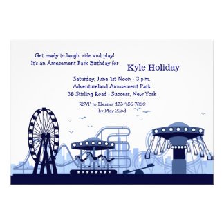 Amusement Park Blue Invitation