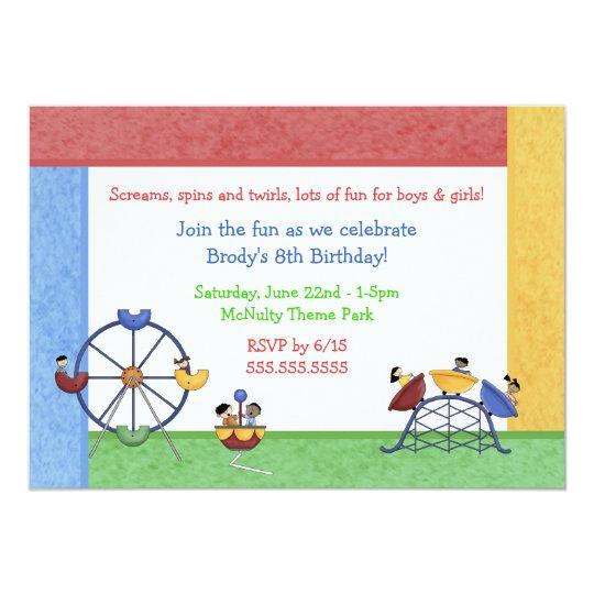 Amusement Theme Park Birthday Invitation