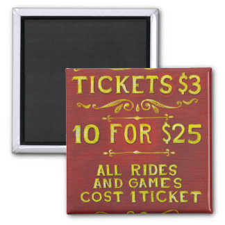Amusement - Tickets 3 Dollars Magnets
