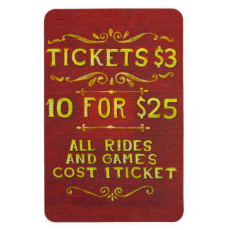 Amusement - Tickets 3 Dollars Flexible Magnets