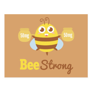 Amusing Cartoon: Cute bee holding pots Postcard