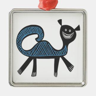 Amusing fantasy beast illustration Silver-Colored square decoration