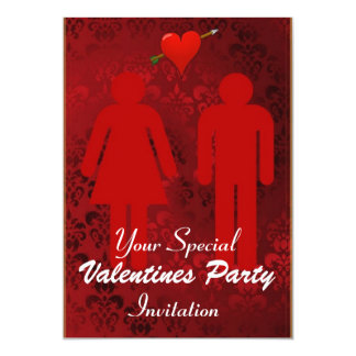 Amusing Red Valentines Day Party 13 Cm X 18 Cm Invitation Card