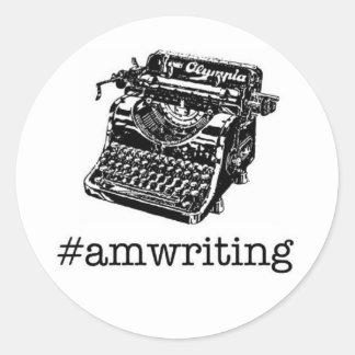 #amwriting round sticker