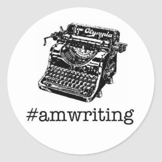 amwriting round sticker