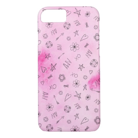 Amy Personalised pink watercolor pattern iPhone 8/7 Case