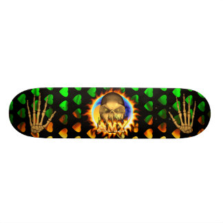 Amy skull real fire and flames skateboard design.