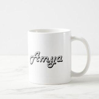 Amya Classic Retro Name Design Basic White Mug