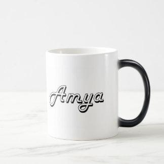 Amya Classic Retro Name Design 11 Oz Magic Heat Color-Changing Coffee Mug
