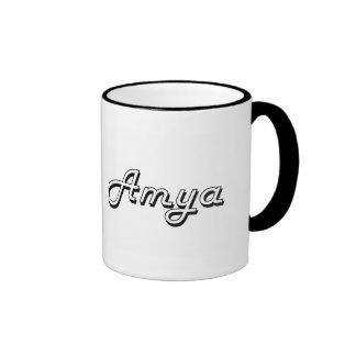 Amya Classic Retro Name Design Ringer Mug