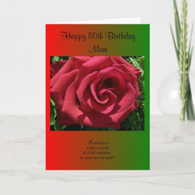 beautiful birthday card for your mother on her 80th bir
