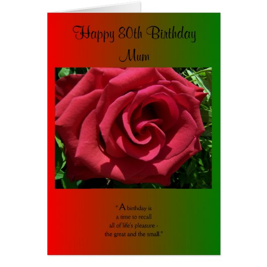 An 80th Birthday Card For A Mother -