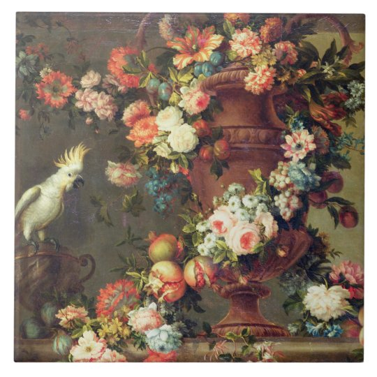An Abundance of Fruit and Flowers Large Square Tile