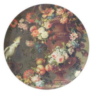 An Abundance of Fruit and Flowers Plate