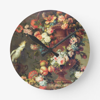 An Abundance of Fruit and Flowers Round Clock