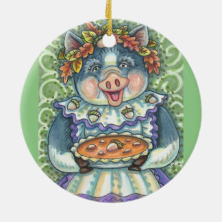 An Acorn And Squash Pie PIG ORNAMENT