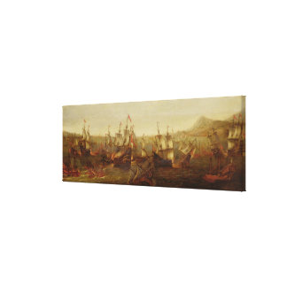 An Action between Spanish Ships and Barbary Galley Canvas Print