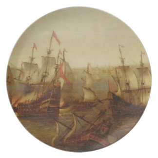 An Action between Spanish Ships and Barbary Galley Plate