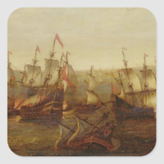 An Action between Spanish Ships and Barbary Galley Square Sticker
