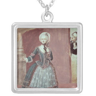 An Actress in the Role of Rosine Square Pendant Necklace