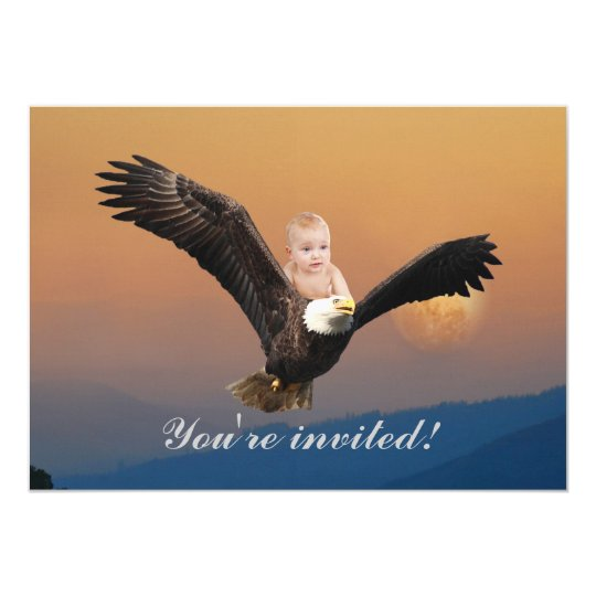 An adorable baby eagle sunset card