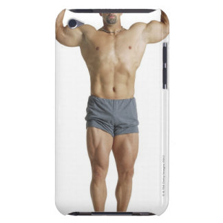 an adult caucasian male bodybuilder holds his barely there iPod covers