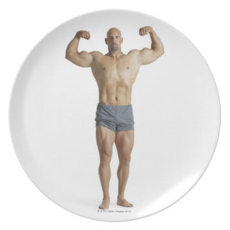 an adult caucasian male bodybuilder plate