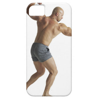 an adult caucasian male bodybuilder shows off barely there iPhone 5 case