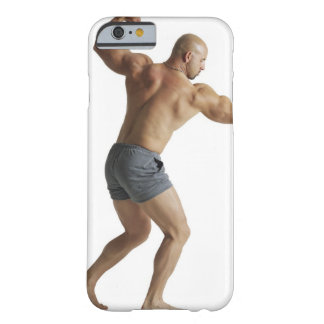 an adult caucasian male bodybuilder shows off barely there iPhone 6 case
