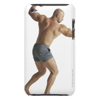 an adult caucasian male bodybuilder shows off barely there iPod cases