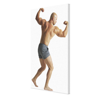 an adult caucasian male bodybuilder shows off canvas print