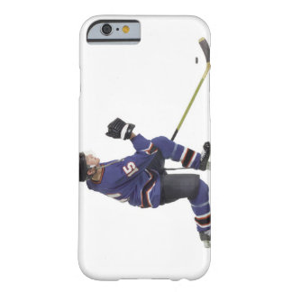 an adult caucasian male hockey player in a blue barely there iPhone 6 case