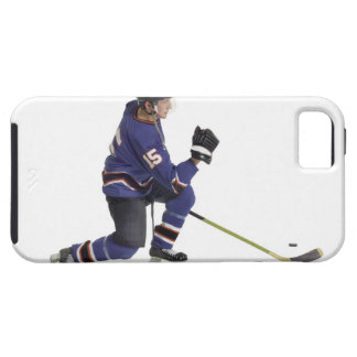 an adult caucasian male hockey player in a blue case for the iPhone 5