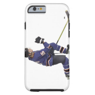 an adult caucasian male hockey player in a blue tough iPhone 6 case