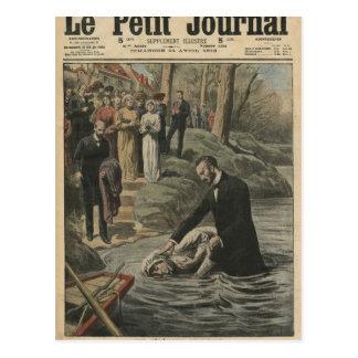 An Adventist baptism in La Marne Postcard