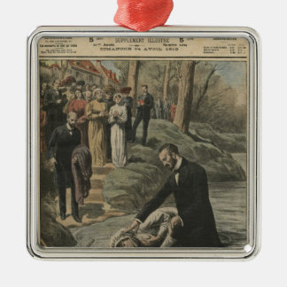 An Adventist baptism in La Marne Silver-Colored Square Decoration