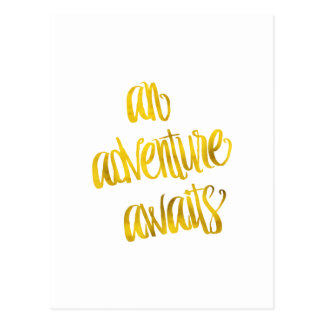An Adventure Awaits Quote Gold Faux Foil Quotes Postcard