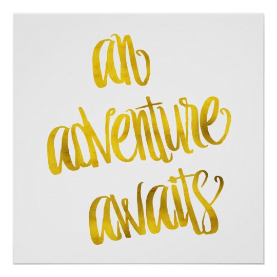 An Adventure Awaits Quote Gold Faux Foil Quotes