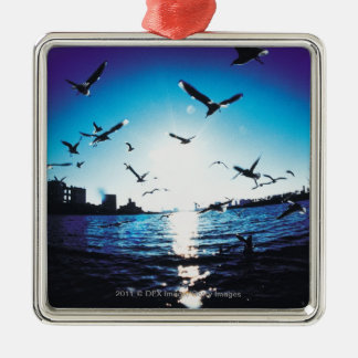 An aerial fisheye lens view of Tokyo Bay, Japan Silver-Colored Square Decoration