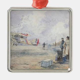 An Aeroplane Taking Off, 1913 Silver-Colored Square Decoration